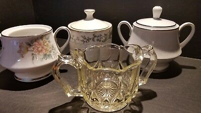 Assorted Fine China Sugar Bowls - Noritake - Farberware - Clear Depression Glass
