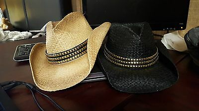 RENEGADE by Bailey Western Straw Hat with Gold Studded Band-2 Colors-Med-NWOT