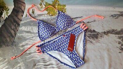 s.Oliver Triangel Bikini Mädchen Gr 158/164 Blau Weiß Zierbänder Neon NP 28,99€