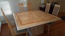 Travertine Dining Table + 8 Tall timber fabric Chairs Avalon Pittwater Area Preview