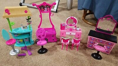 Lot of Barbie Furniture Beach Store Accessories Table Dresser Chairs