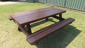 """JARRAH AND KARRI 7 FT 3"""" THICK 8 TO 10 SEAT PICNIC TABLE Huntingdale Gosnells Area Preview"""