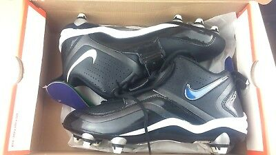 Nike Men Size 11.5 ZOOM CODE D Football Cleats Black white color swoosh MSRP $80