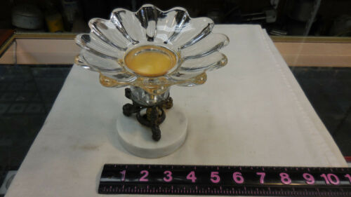 Beautiful Antique Crystal, Brass and Marble Candy/Fruit Dish