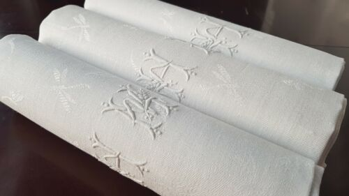 XXL 4 Antique French Pure Linen embroidered napkins monogram HM WH ART NOUVEAU