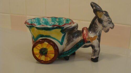 Vintage Ceramic Adorable Donkey Figurine/ Planter, Italy, Signed & Numbered