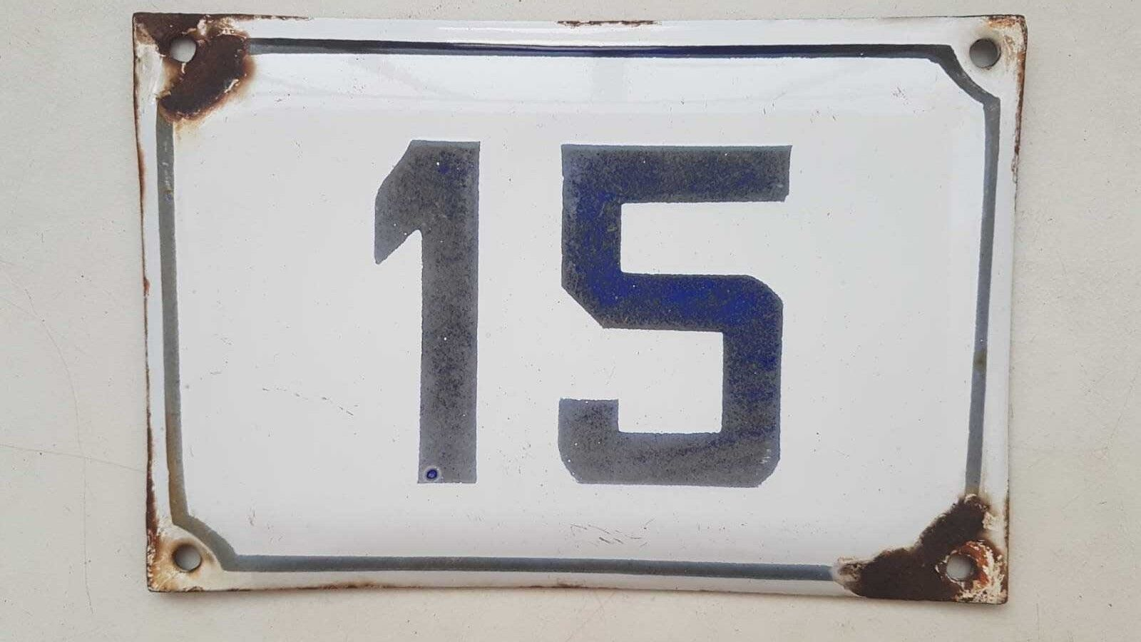 Genuine vintage enamel porcelain number 15 house door sign # 15 PICK 1 FROM LOT