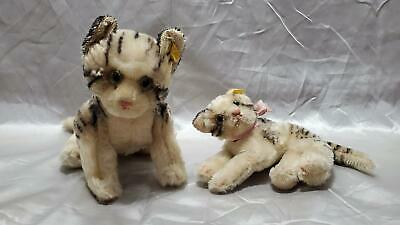 Two Vintage STEIFF Tabby Cats, Swivel Heads, Mohair, 1950