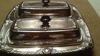 Antique Double Compartment Crosby Silver Plate Covered Butter Dish