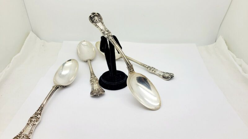 """4 ANTIQUE TIFFANY ENGLISH KING STERLING SILVER TABLE SERVING SPOONS,8 5/8"""""""