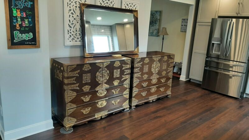 Matching set of Antique/Vintage Asian Korean Chests/Dressers w/matching Mirror!