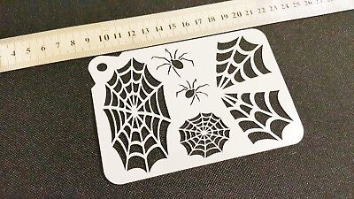 COBWEB SPIDERS Halloween Airbrush Paint Stencils Face Body Wall Cake Party Web - Face Painting Spider Halloween