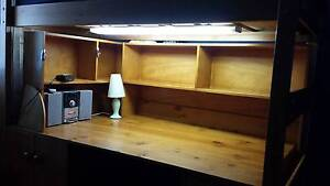 BUNKERS_Super Desk Space Saver Loft Bed Stained&Shelving $800 Plympton West Torrens Area Preview