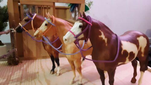Set of 3 handmade bridles for breyer horse or peterstone bridle tack lot 1