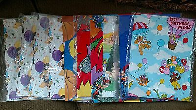 Lot 11 pieces 80s Vintage Birthday Muppets Super Man Thomas Train Wrapping Paper (Thomas Wrapping Paper)