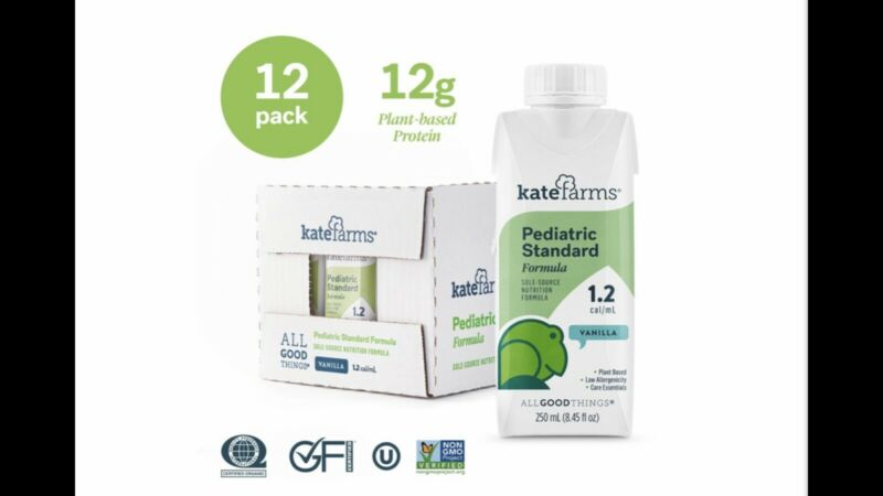 Kate Farms Pediatric Standard Vanilla 1.2 cal/mL. Box of 12, 250 mL each.