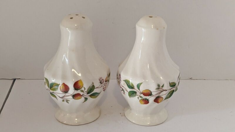 Vintage Myott Salt And Pepper Shakers Strawberry Patch Design Made in England