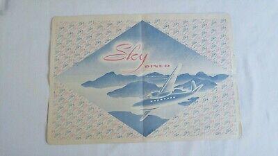 Vintage Clancy's SKY DINER Restaurant Placemat VANCOUVER BC Airplane Art DECO
