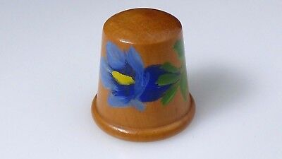 Vintage Wood Wooden Handpainted Flower Collectible Sewing Thimble Switzerland