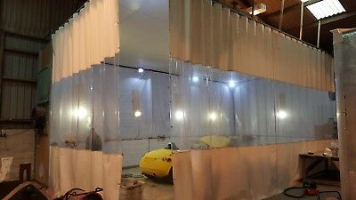 BOAT BARGE  AUTO BODY REPAIR RETRACTABLE DUST PAINT CURTAINS HEAVY DUTY TRACK