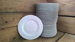 48 Stück Speiseteller Grillteller Teller flach 25cm Porzellan weiss  für Feste