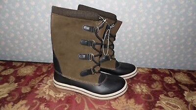 WOMENS LADIES SUEDE LEATHER LOOK LACE UP THERMAL BOOTS SIZE 8 -