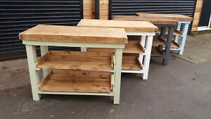 butchers block kitchen island ,industrial vintage  with 2 pull out shelfs