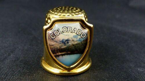 Vintage Colorado Thimble Gold Tone Souvenir Scenic Shield Mountains Collectible
