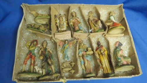 Vintage 14 Piece Nativity Set Christmas Italy