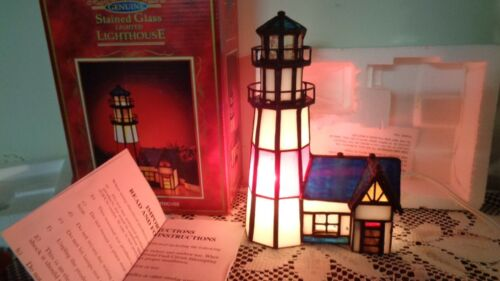 """Genuine Stained Glass Lighted Cranes Eye 8"""" Tall x 5"""" Wide Lighthouse NEW in BOX"""