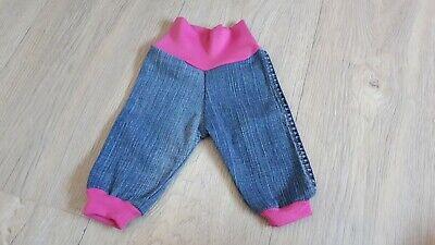 Handmade Baby Mädchen Jeans Pumphose  Gr. 56 Blau Pink Neu Dawanda Bequemer Bund (Mädchen Baby Jeans)