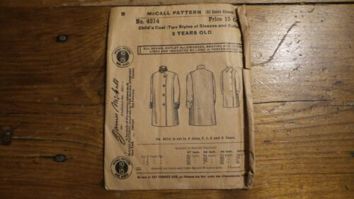 Antique Vintage Sewing Pattern MCCALL #4214 Child