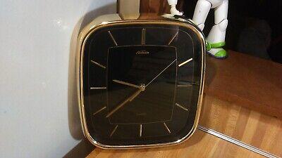 Vintage Sunbeam Quartz Wall Clock(watch look),black/gold,works great,vg!