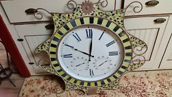 EXTRA LARGE 32DIA. MOSAIC STAIN GLASS/ IRON WALL CLOCK W/ THERMOMETER & BAROMET