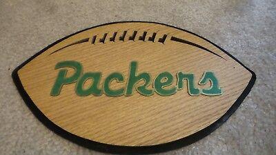 NFL Wall Hanging Handmade Football  11 1/2 X 7 Green Bay Packers