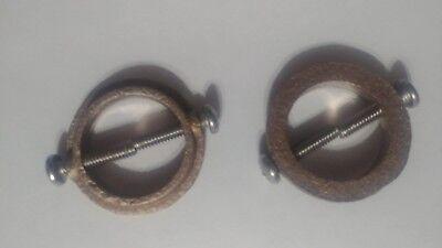 Set of two 2-Lightning Rod Set Screw Ball Collar.  Twist rod.      Made of brass