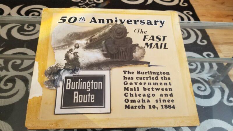 Vintage 1934 Burlington Route Mail Train Original Calendar Art Layout Locomotive