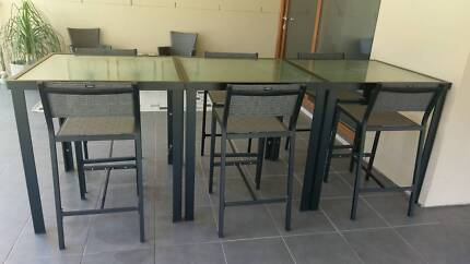 Three piece modular outdoor glass top table setting, as new