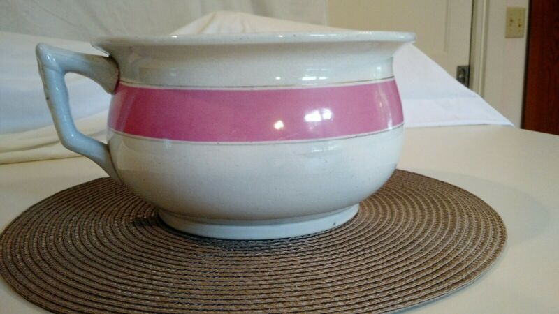 Vintage Ceramic Chamber Pot in White, Pink, and Gold