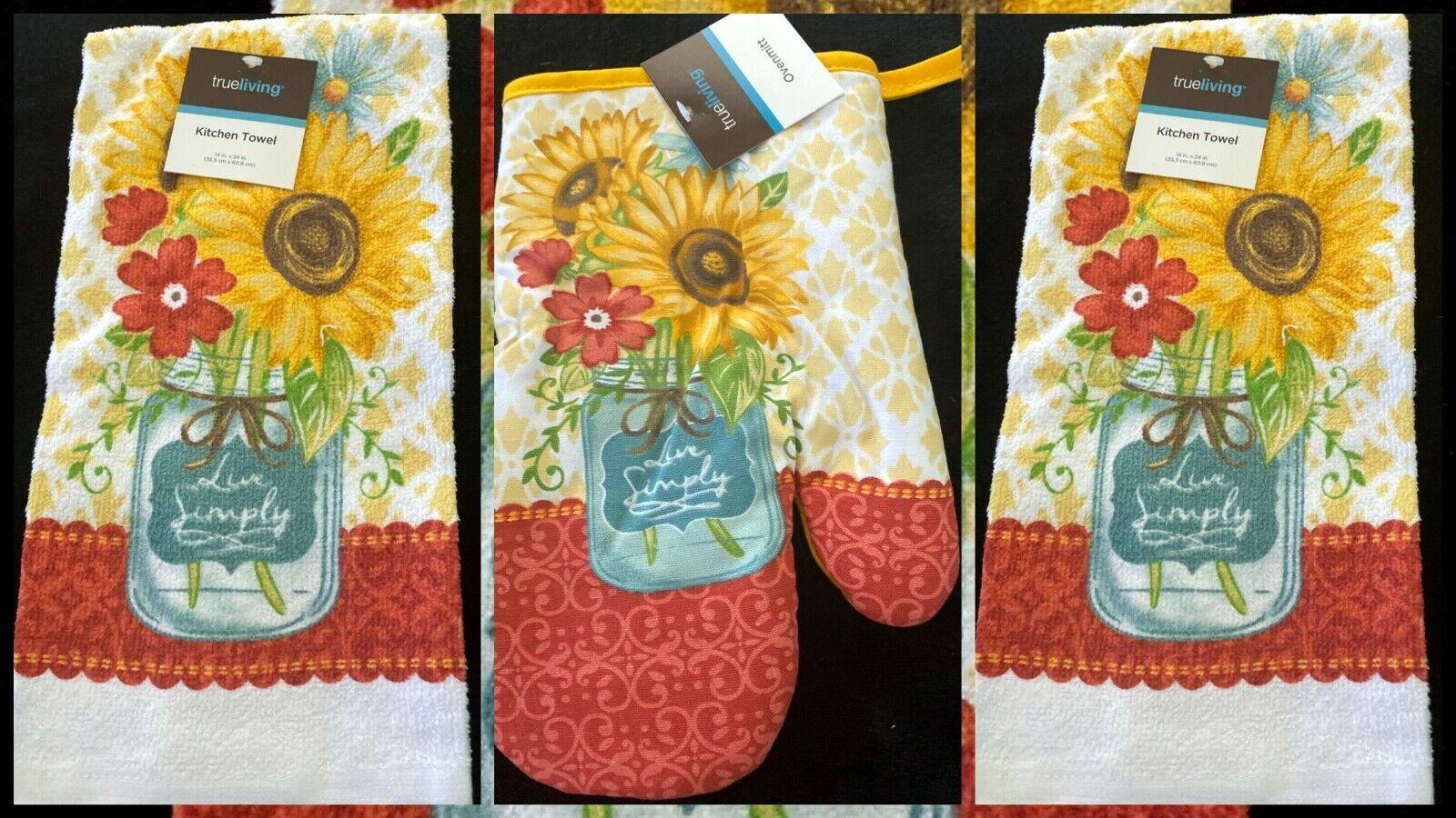 Sunflowers Mason Jar Kitchen Set 2 Towels 1 Oven Mitt Live S