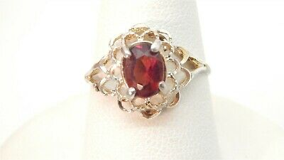 Sterling Silver Oval Genuine 1 Carat Garnet Solitaire Ring Size -