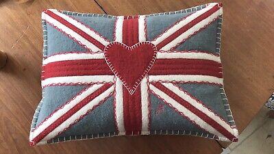 JAN CONSTANTINE Union Jack 100% Wool Grey Red Boudoir Cushion