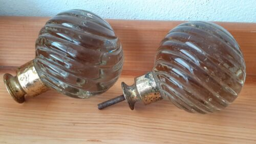 Antique old pair newel post finial transparent glass spiral