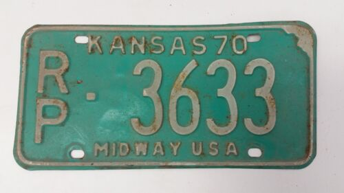 1970 KANSAS Republic County Midway USA License Plate RP-3633