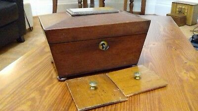 VICTORIAN    TEA CADDY  with key and original inlay