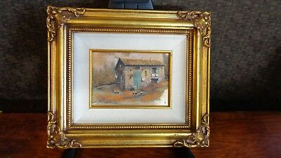 Rustic House Landscape Metal Plate Artwork 13 X 11 Signed Stamped By Artist