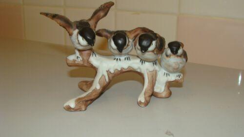ENESCO Vintage Ceramic/Porcelain 4 Sparrow Birds Sitting on Tree Branch