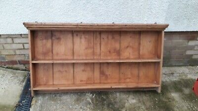 Early Victorian Antique pine plate rack, dresser top, kitchen display rack