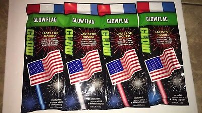American Flag Glow Stick Lot Red White Blue Bundle Of 4 4th Of July Glow Sticks ()