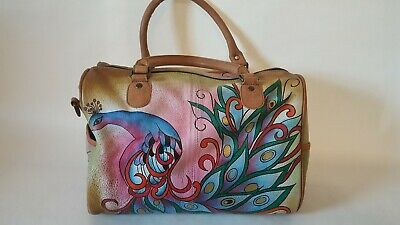 Anuschka Genuine Leather Peacock  Satchel Purse Preowned In Great Condition